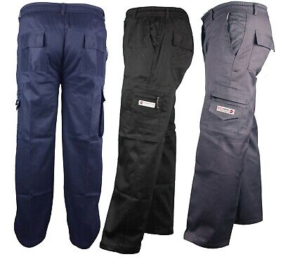 Mens CF Trousers Elasticated Cargo Combat Multi Pocket Work Pants Bottoms casual