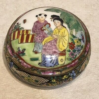 Chinese ANTIQUE Famille Hand Painted Porcelain Enamel Trinket Jewelry Box