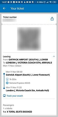 National Express Ticket - GATWICK AIRPORT (SOUTH) to -  Victoria Coach Station