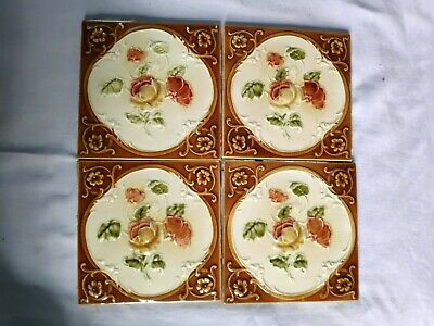 1940s 4 Pieces Embossed Floral Art Nouveau Architecture / Furniture Tile,England