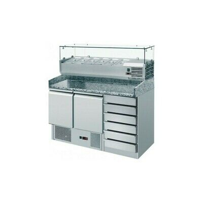 Refrigerated Saladette Am with Floor and Riser in Granite + Showcase - 2 Port +