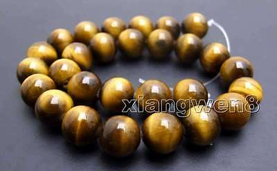 """SALE AA 14mm yellow Round natural tiger's-eye gemstone Beads strand-15"""" -los701"""