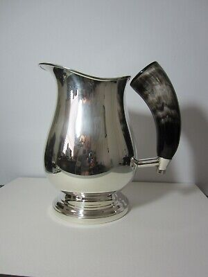 """Plata Lappas Silver Plated WATER PITCHER With Faux Horn Handle 7""""D x 8""""H"""