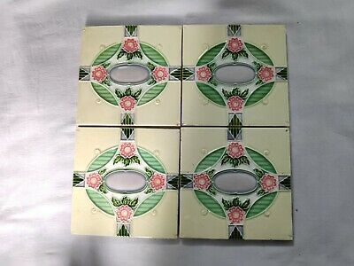 1940s Vintage Embossed Floral Art Nouveau Architecture / Furniture Tile ,England