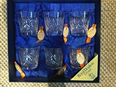 Royal Doulton - Crystal Glass Whisky Glasses.  A Set of 6.