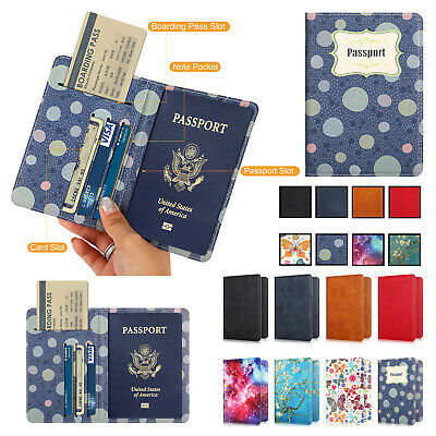 Luxury Leather Travel Passport Wallet ID Card Holder RFID Blocking Case Cover US