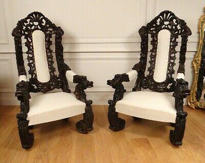 Pair Great Armchairs Wood Carved Italy Venice Baroque Grape Vine Xixè