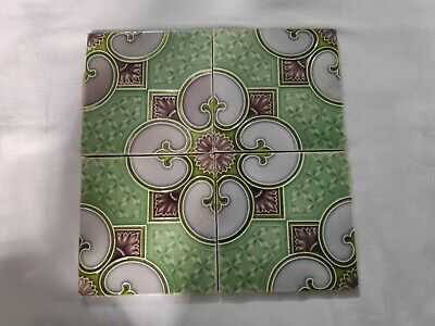 1940s 4 Pcs Majolica Decorative Art Nouveau Architecture/Furniture Tile ,England