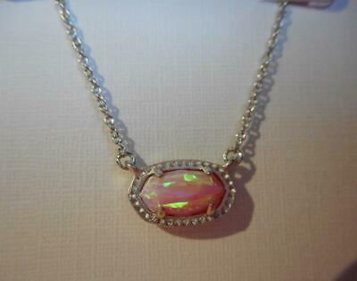 Luxury Silver /& Light Pink Opal Imitation Pendant Cute Cat Gift Necklace N479