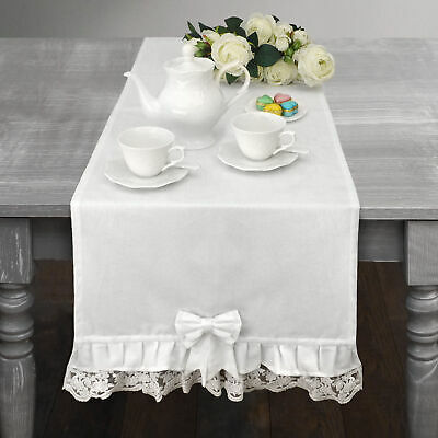 Runner Shabby Chic Pizzo Swami Collection 45x150 Colore Bianco