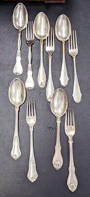 5 Assorted Danish Silver Large Table Spoon & Dinner Fork Sets