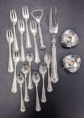 Assorted Danish COHR Silver & Silver Plate Flatware Items & Candle Stick Holders