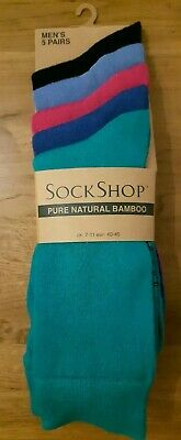 5-Pair Pack Mens Bright Colours SOCK SHOP Pure Natural Bamboo Socks UK7-11 BNIP