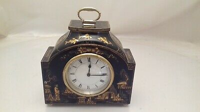 Antique Chinoiserie Laquered Mantel Clock