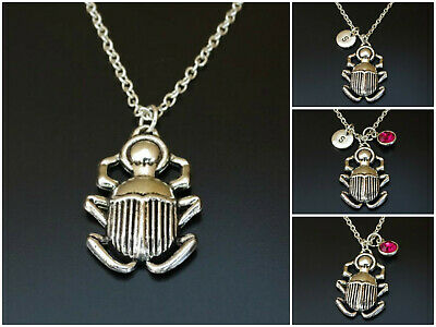 Scarab Beetle Necklace Initial Letter Birthstone Silver Charm Personalized Gift