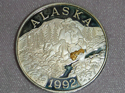 """Proof Pure Silver Coin with """"ALASKA"""" Gold Nugget & Edge Lettering"""