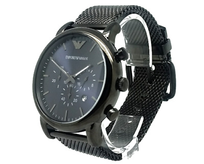 AR1979 Blue Dial Luigi Mesh Starp Men Chronograph Watch PREZENT Emporio Armani