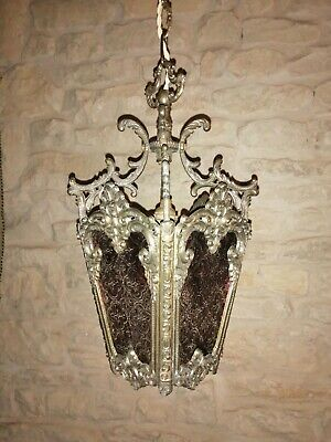 Vintage French Brass Porch Hall Lantern Ceiling Light voilet Glass Panels