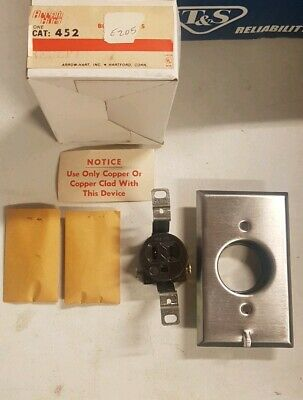 Arrow Hart Industrial Single Outlet Clock Hanger Receptacle-15A 125V-Recessed