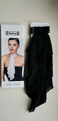 WOLFORD MERYL COLLAR in BLACK long elegant statement necklace tie up accessory