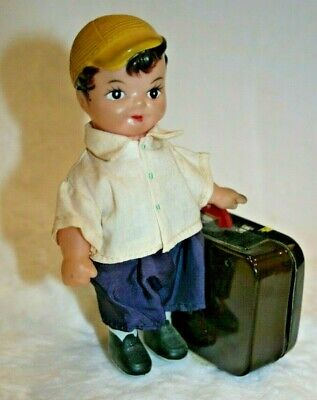 Vintage Windup Toy Boy with Suitcase