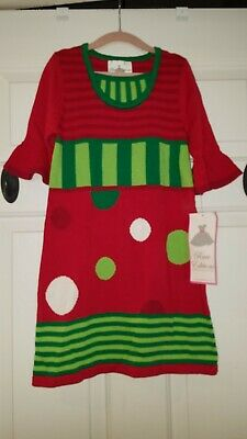 Rare Editions Christmas Girls SZ 5 Red Sweater Dress NWT