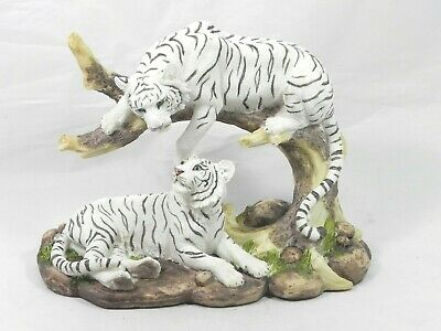 WHITE TIGER Pair Couple on Tree and Ground  Figure Statue GREAT DETAIL