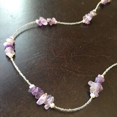 Amethyst/pearls and antique micro beads Pretty Necklace 19 1/2 inc