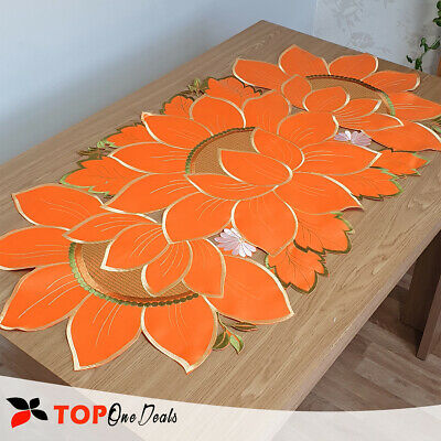Amazing Orange Flower Embroidered Table Runner Tablecloths Table Decoration