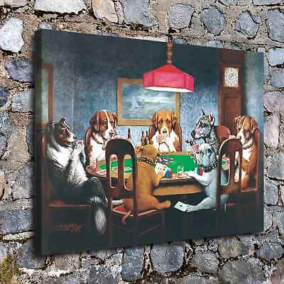 """16""""x22""""Dog Playing Cards Posters HD Canvas Prints Home Room Decor Wall picture"""