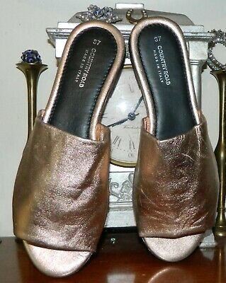 VINTAGE Country Road Rose Gold Resort Glam Italian Leather Shoes Size 37