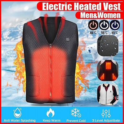 Electric Vest Heated Cloth Jacket USB Warm Up Heating Pad Winter Body Warmer UK