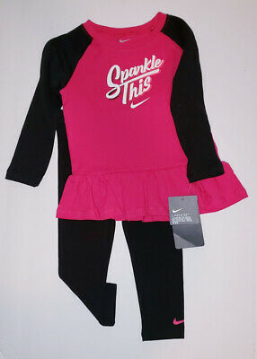 Nike Air Girls 2 PC Set Sparkle Ruffle Tunic & Leggings Outfit Size 24 Months