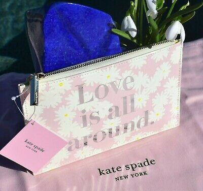 🌸  NWT Kate Spade Love Is All Around Pencil Pouch Cosmetic Clutch Pink NEW