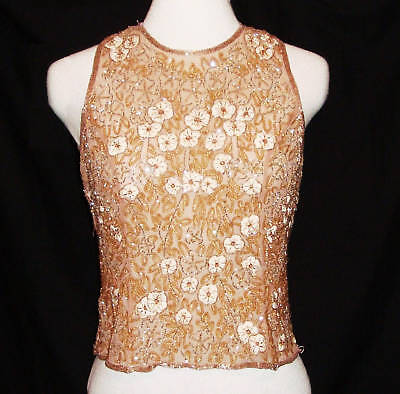 STUNNING VINTAGE HAND EMBROIDERED SILK TOP small