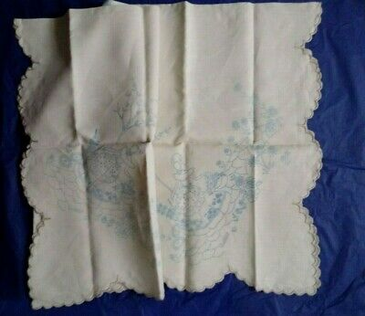 Vintage CRINOLINE LADY tablecloth for embroidery transfer printed design