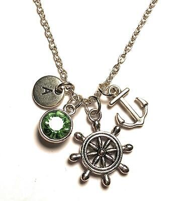 Ship Wheel Anchor Necklace Initial Birthstone Nautical Sailor Personalized Gift