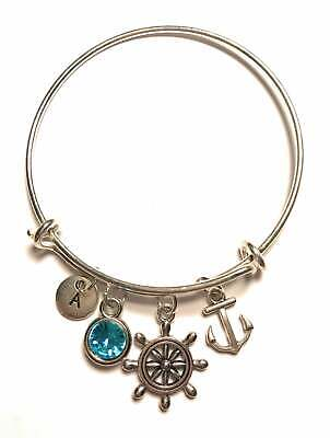 Ship Wheel Anchor Bracelet Initial Birthstone Nautical Sailor Personalized Gift