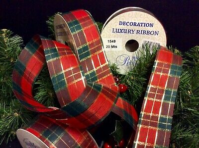 20mtrs CHRISTMAS TARTAN RIBBON DECORATION TREES WRAPPING BOWS NEW YEAR 1 ROLL