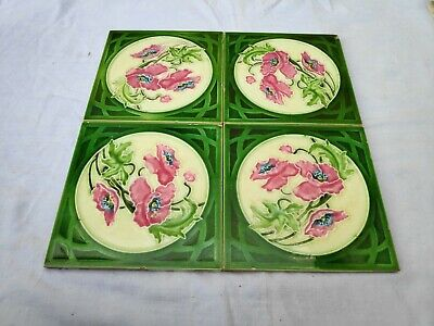 1940s 4 Pcs Embossed Floral Art Architecture / Furniture Tiles , England
