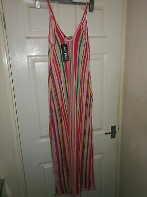 NEW BNWT SUMMER MAXI BODYCON STRIPE MATERNITY DRESS BOOHOO Red Pink Size 12