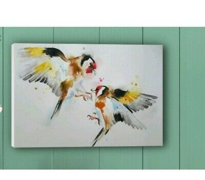"""print of original painting in 16/"""" x 12/"""" Mount goldfinch Watercolour blue tit"""