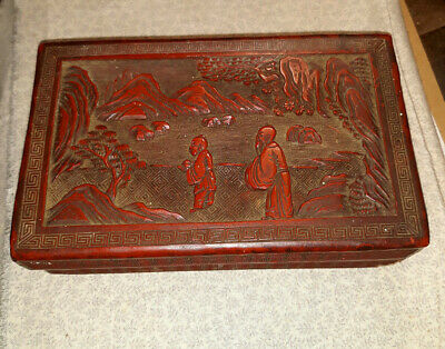 *SALE*Antique Chinese Cinnabar Lacquer Carved Box, Early piece, darkened by age