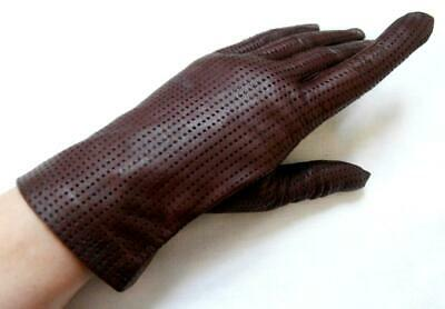 BN Vintage 1960's Dark Brown Leather Perforated Gloves Sz 7 1/2, Lrg, Narrow Fit
