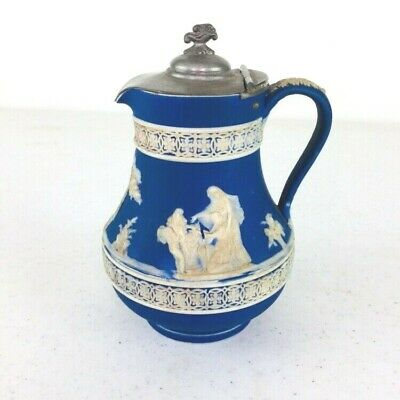Antique Wedgwood Cobalt Blue Jasperware Creamer / Small Pitcher with Hinged Lid