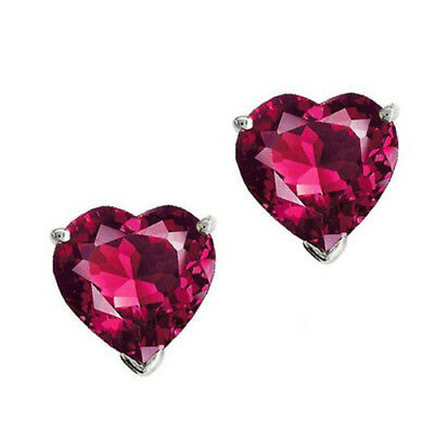 3Ct Heart Shape Ruby 14K White Gold Over Silver Solitaire Stud Earrings