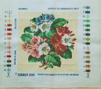 Ehrman Gloxinia's Flowers Embroiderers Guild Printed Canvas Tapestry Needlework