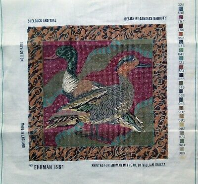 Ehrman Shelduck & Teal Ducks Candace Bahouth Printed Canvas Tapestry Needlework