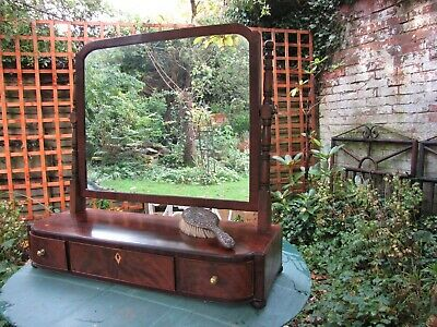 antique Regency toilet mirror with 3 drawers and original key