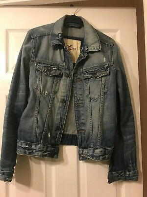 Mens Hollister Denim Jacket size small, distressed look,excellent condition